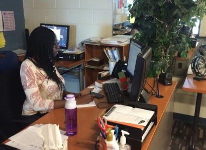 Learning Center's Ms. Asumadu enjoys her last day at PC