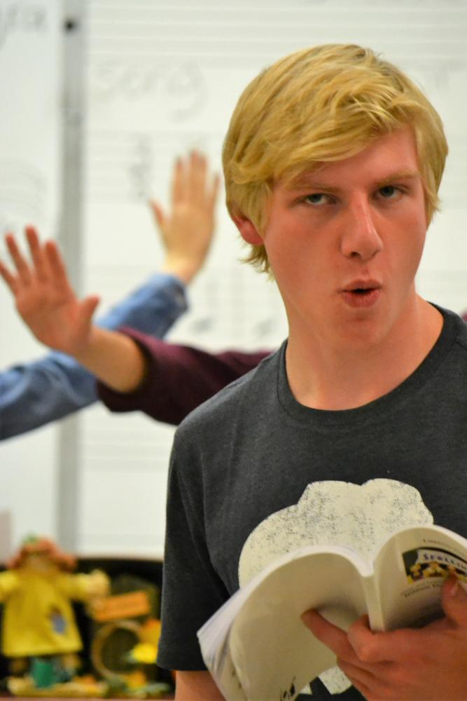 Senior John Hart rehearses for his role as William Barfee in the theatre department's fall producton,