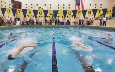 PC Men's Swim and Dive team at their meet against St. Joseph.