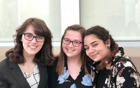 From the left, senior Katie Franz, junior Brenna Sackett, and junior Zoe Reyes at this past weekend's forensic's competition at Battle Creek Central High School.