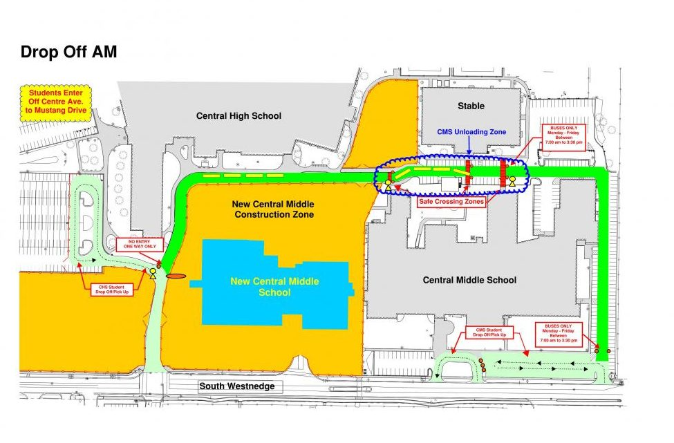 Map explaining the new traffic patterns around Portage Central High School.