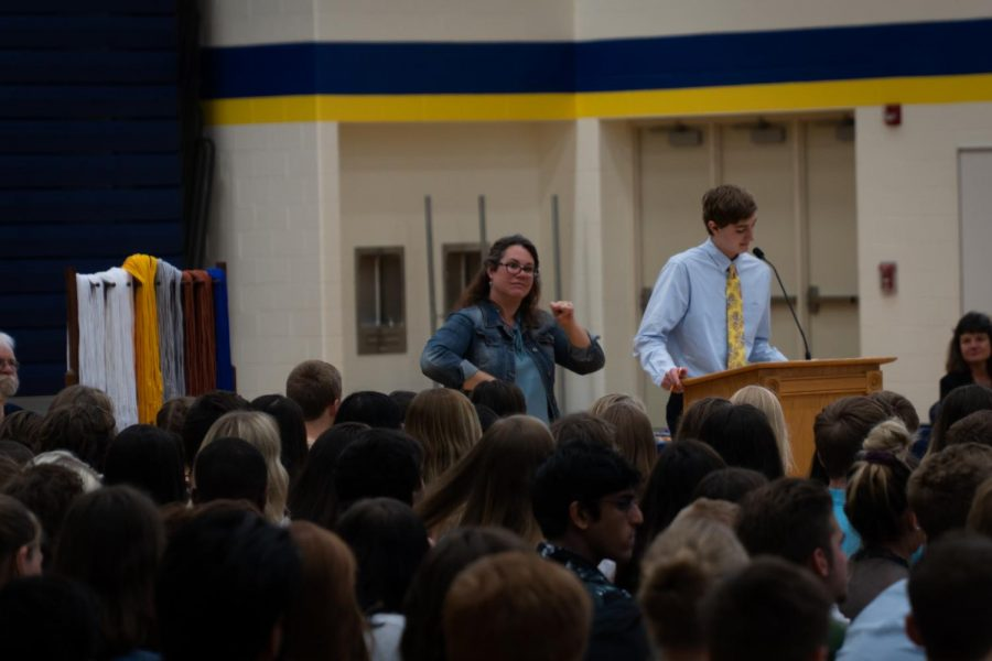 Student Council President Colin Palmer delivers his speech to his peers.