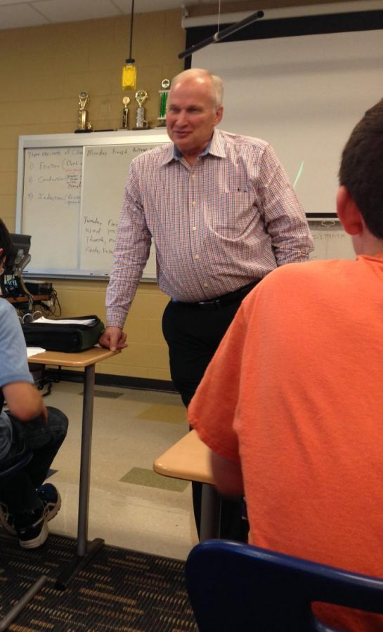 Long time physics teacher, Dale Freeland leads an interactive lesson each day, actively engaging his students.