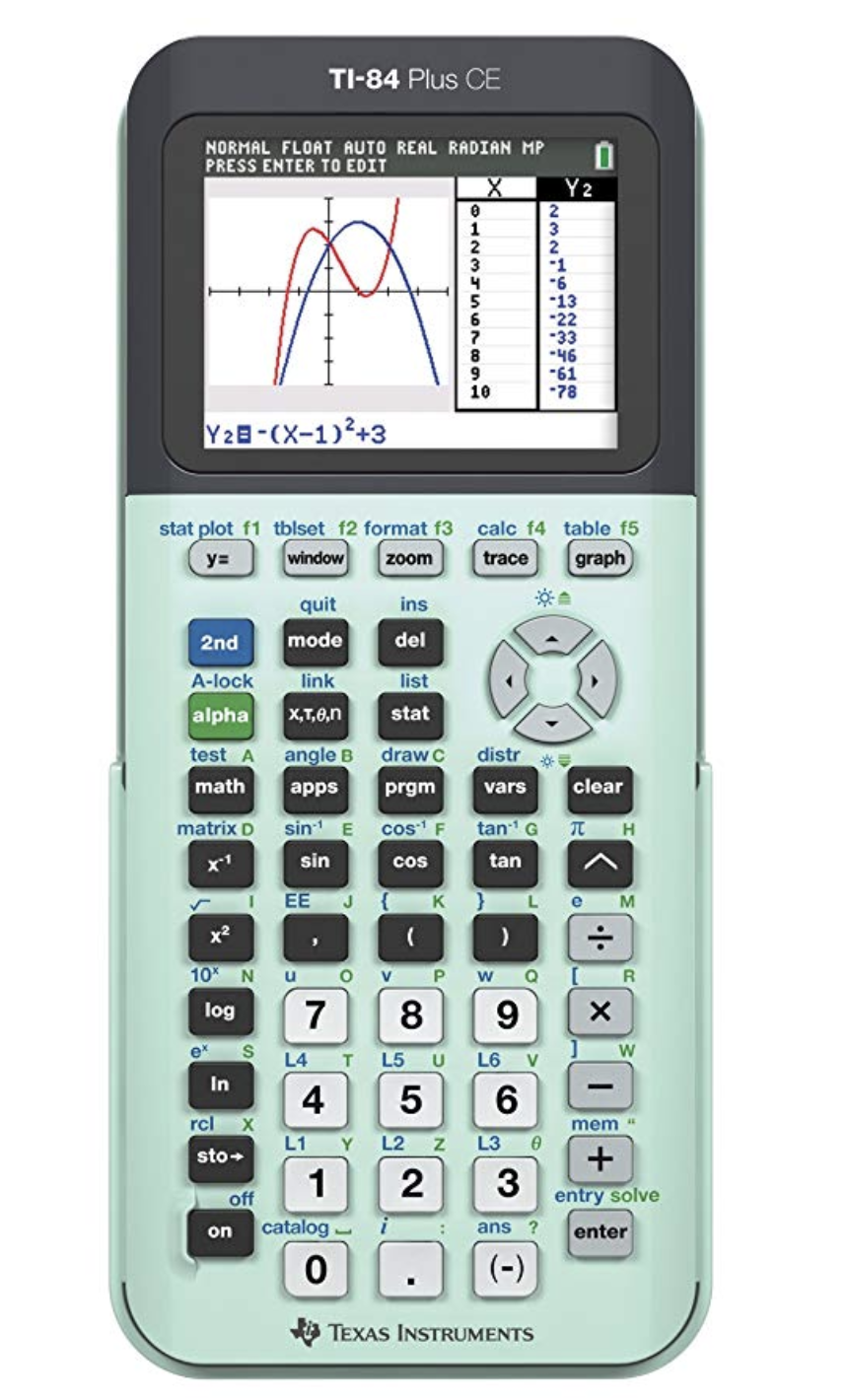 This article is intended for use with the popular TI-83, TI-84 and TI-84 Plus CE calculators. The calculator shown here is the TI-84 Plus CE. Please use this photo for reference when reading the tips on this article.